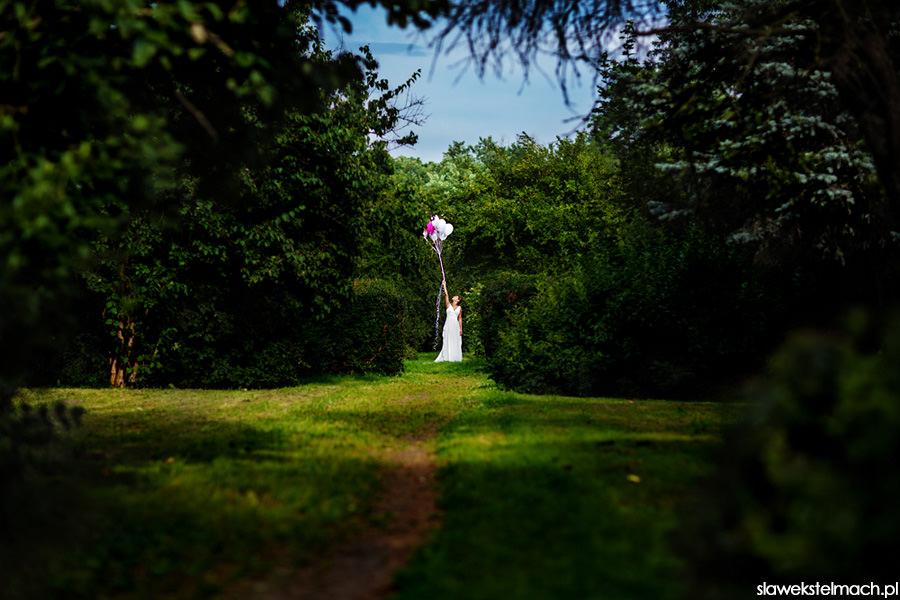fotografia ślubna w zielonym gaju