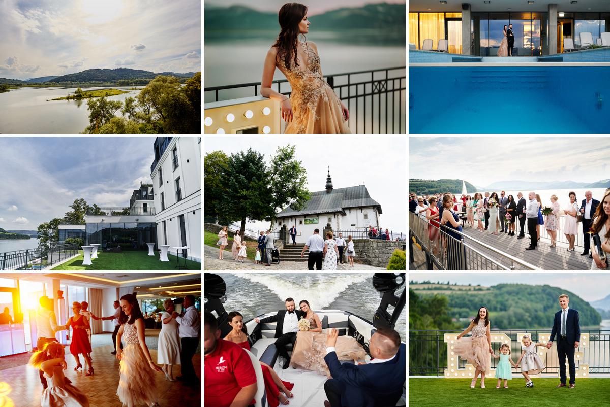 zabawa weselna w hotelu heron live hotel, ceremonia zaślubin w kościele w Tropiu, zdjęcia ślubne na pomoście heron live hotel, sesja rodzinna w hotelu heron, wspaniały widok na jezioro rożnowskie