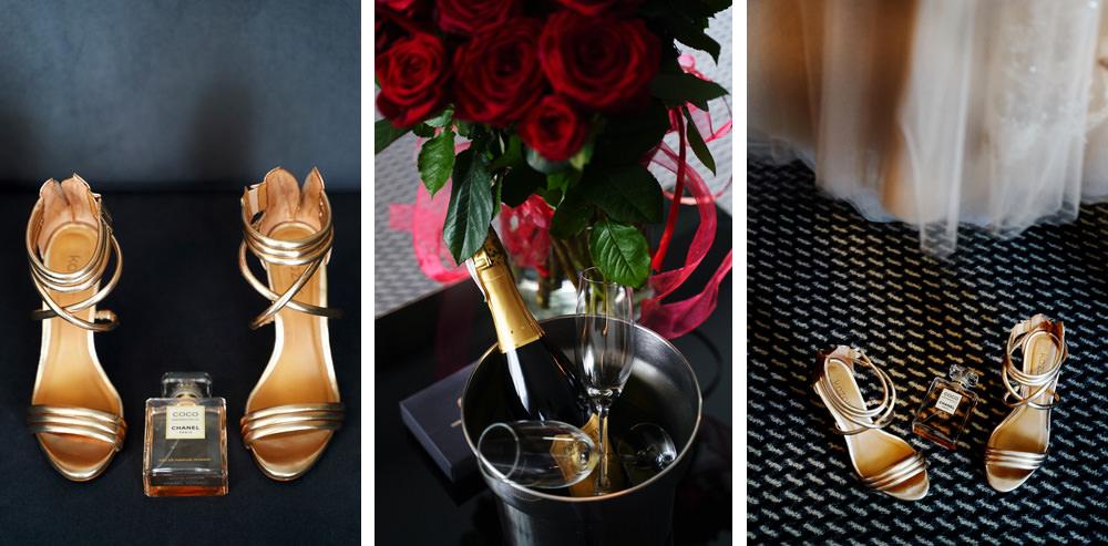 przygotowania panny młodej Wesele w Hotelu Heron Live, dedale okołoślubne boty, perfumy, suknia, szampan, kwiaty