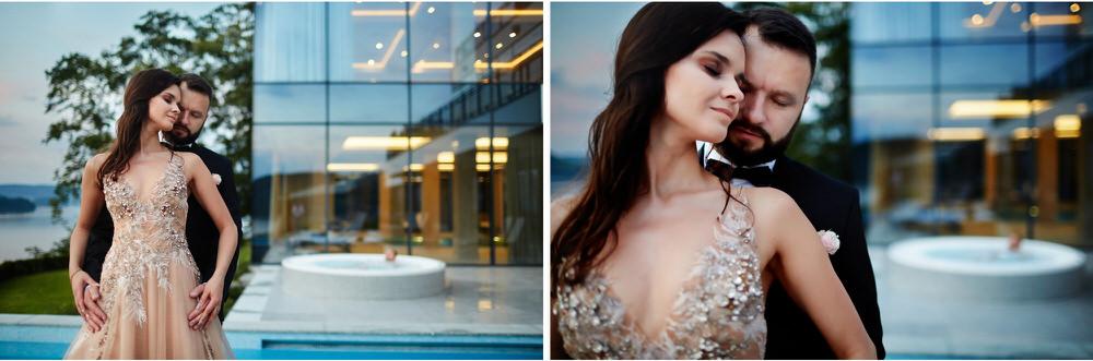 sesja ślubna na basenie Hotel Heron Live – zdjęcia portretowe pełne miłości